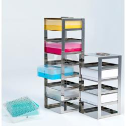 Racks de acero para congeladores horizontales para 4 cajas de 95 mm de altur