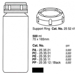 Botella 500 ml. (70X165 mm.) PP negro, fondo plano, con tapa (2 unid.)