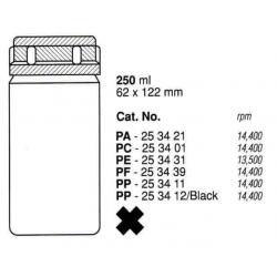 Botellas 250 ml. (62X122 mm.) PPCO(PA), fondo plano, con tapa (6 unid.)