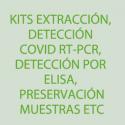 Kits extracción, detección Covid RT-PCR, detección por elisa, preservación muestras etc