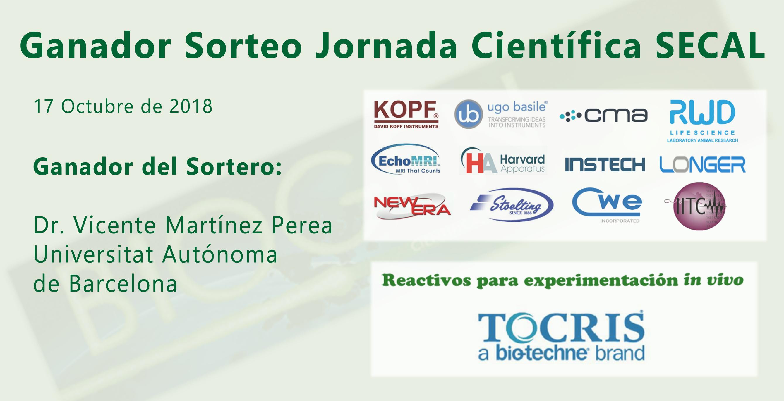Ganador Sorteo Jornada Cientifica  - SECAL 17/10/2018